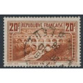 FRANCE - 1931 20Fr red-brown Roman Aqueduct, perf. 13:13, used – Michel # 242C