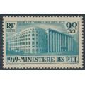 FRANCE - 1939 90c + 35c green blue P.T.T. Headquarters, MH – Michel # 442