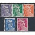FRANCE - 1951 5Fr to 18Fr Marianne definitives set of 5, MNH – Michel # 901-905
