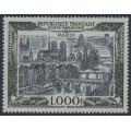 FRANCE - 1950 1000Fr grey-black/black on bluish paper Airmail, MNH – Michel # 865
