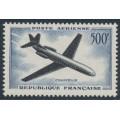 FRANCE - 1957 500Fr blue/black Caravelle Airmail, MNH – Michel # 1120
