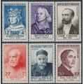 FRANCE - 1954 Famous Frenchmen set of 6, MNH – Michel # 1015-1020