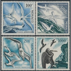 MONACO - 1955 100Fr to 1000Fr Birds airmail set of 4, perf. 11, MNH – Michel # 502A-505A