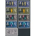 GREAT BRITAIN - 1964 Shakespeare Festival sets on normal and phosphor paper, MNH – SG # 646-650
