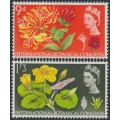 GREAT BRITAIN - 1964 9d & 1/3 Botanical Congress with phosphor bands, MNH – SG # 657p + 658p