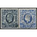 GREAT BRITAIN - 1939-1942 10/- dark blue & 10/- ultramarine KGVI Definitives, used – SG # 478 + 478b