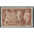 GREAT BRITAIN - 1951 £1 brown KGVI Royal Coat of Arms definitive, used – SG # 512
