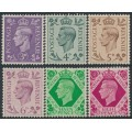 GREAT BRITAIN - 1938-1939 3d to 8d KGVI definitives, MNH – SG # 467-472
