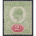 GREAT BRITAIN - 1902 2d yellowish green/carmine-red KEVII, unused – SG # 225