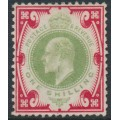 GREAT BRITAIN - 1902 1/- dull green/carmine (ordinary paper) KEVII, unused – SG # 257