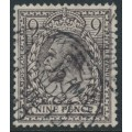 GREAT BRITAIN - 1913 9d agate KGV with multiple cypher watermark, used – SG # 392