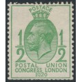 GREAT BRITAIN - 1929 ½d green UPU Congress, watermark sideways, mint hinged – SG # 434a