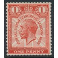 GREAT BRITAIN - 1929 1d scarlet UPU Congress, watermark sideways, mint hinged – SG # 435a