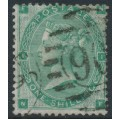 GREAT BRITAIN - 1862 1/- green Queen Victoria, Emblems watermark, used – SG # 90