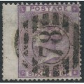 GREAT BRITAIN - 1864 6d lilac Queen Victoria, Emblems watermark, used – SG # 85