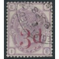 GREAT BRITAIN - 1883 3d on 3d lilac Queen Victoria, Imperial Crown watermark, used – SG # 159