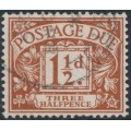 GREAT BRITAIN - 1922 1½d chestnut Postage Due, Simple Cypher watermark, used – SG # D3