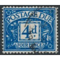 GREAT BRITAIN - 1951 4d blue Postage Due, GVIR watermark, used – SG # D38