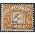 GREAT BRITAIN - 1955 5d yellow-brown Postage Due, Tudor Crown watermark, used – SG # D44