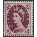 GREAT BRITAIN - 1954 11d brown-purple QEII Wilding, Tudor Crown watermark, MH – SG # 528
