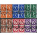 GREAT BRITAIN - 1957 ½d to 3d QEII Wildings set with graphite lines, blocks of 4, used – SG # 561-566