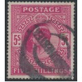 GREAT BRITAIN - 1912 5/- carmine King Edward VII definitive, used – SG # 318