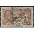 GREAT BRITAIN - 1934 2/6 chocolate Sea Horses, re-engraved, used – SG # 450