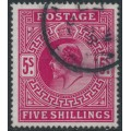 GREAT BRITAIN - 1902 5/- deep bright carmine KEVII definitive, used – SG # 264