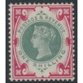 GREAT BRITAIN - 1887 1/- green/carmine Queen Victoria Jubilee issue, MH – SG # 214