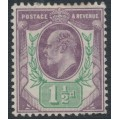 GREAT BRITAIN - 1902 1½d dull purple/green KEVII definitive, MH – SG # 221