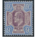 GREAT BRITAIN - 1902 9d dull purple/ultramarine KEVII definitive, MH – SG # 250