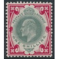 GREAT BRITAIN - 1902 1/- dull green/carmine KEVII definitive, MH – SG # 257