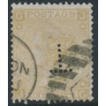 GREAT BRITAIN - 1867 9d pale straw Queen Victoria, spray of rose watermark, plate 4, used – SG # 111
