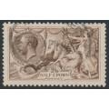 GREAT BRITAIN - 1918 2/6 pale brown Sea Horses (Bradbury, Wilkinson printing), used – SG # 415a