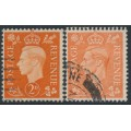 GREAT BRITAIN - 1938 2d orange & 2d pale orange KGVI, inverted watermarks, used – SG # Q10b + Q11a