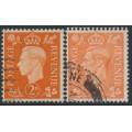 GREAT BRITAIN - 1938 2d orange & 2d pale orange KGVI, inverted watermarks, used – SG # Q10b + Q11a