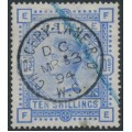 GREAT BRITAIN - 1883 10/- ultramarine Queen Victoria, anchor watermark, used – SG # 183