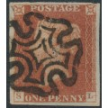 GREAT BRITAIN - 1841 1d red-brown QV, plate 19, check letters SL, used – SG # 8l