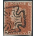GREAT BRITAIN - 1843 1d red-brown QV, plate 33, check letters MK, Irish MC cancel, used – SG # 8l