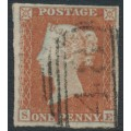 GREAT BRITAIN - 1852 1d red-brown QV, plate 137, check letters SE, used – SG # 8