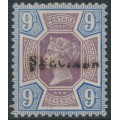 GREAT BRITAIN - 1887 9d dull purple/blue QV Jubilee, o/p SPECIMEN, MH – SG # K38s