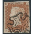 GREAT BRITAIN - 1842 1d red-brown QV, plate 24, check letters PK, used – SG # 8l