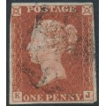 GREAT BRITAIN - 1843 1d red-brown QV, plate 34, check letters KJ, used – SG # 8l