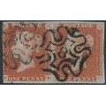 GREAT BRITAIN - 1843 1d red-brown QV, plate 34 pair, check letters FB + FC, '8' MC cancel, used – SG # 8m