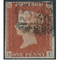 GREAT BRITAIN - 1844 1d red-brown QV, plate 55, check letters DI, used – SG # 8f