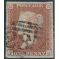 GREAT BRITAIN - 1849 1d red-brown QV, plate 97, check letters FG, used – SG # 8