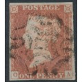 GREAT BRITAIN - 1841 1d red-brown QV, plate 20, check letters OA, Coventry MC cancel