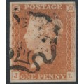 GREAT BRITAIN - 1841 1d red-brown QV, plate 21, check letters JL, used – SG # 8l
