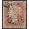 GREAT BRITAIN - 1841 1d red-brown QV, plate 22, check letters HH, used – SG # 8l