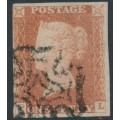 GREAT BRITAIN - 1842 1d red-brown QV, plate 24, check letters PL, used – SG # 8l